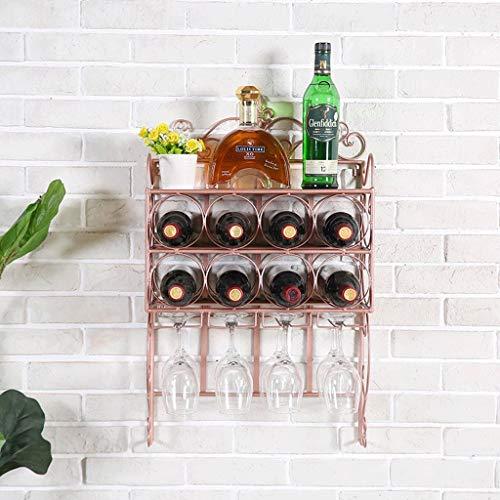 Metal Grapes Wine Bottle (JIU Grape Wine Rack Metal Multi-Function Wall-Mounted Wine Bottle Storage Frame Bar Hanging Goblet Stand Living Room Dining Room Rack (Color : Red Copper))
