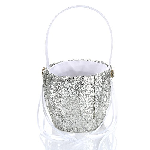 Adealink Wedding Ceremony Party Decor Sequins Flower Basket Wedding Party Supplies by Adealink