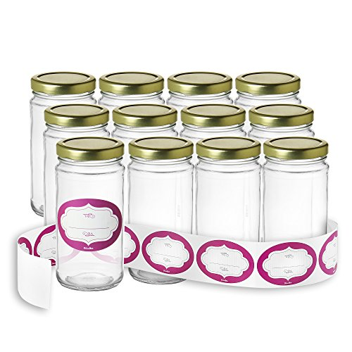 Pack of 12 - Glass Round 12 Oz Jars with Gold Lids and Labels Perfect for Home Canning, Pickling, Gifts, Presentation, Baby Showers, Baby Food Storage, Wedding Favors, Juicing, Housewarming, Pantry ()