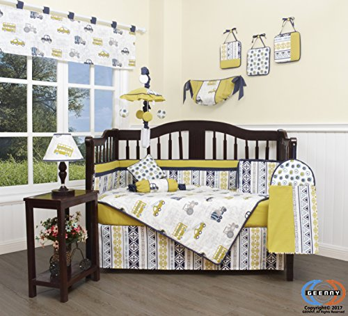 GEENNY 13 Piece Boutique Baby Nursery Crib Bedding Set, Transportation Cars, Multi-Colors, Crib Crib Bedding Cars