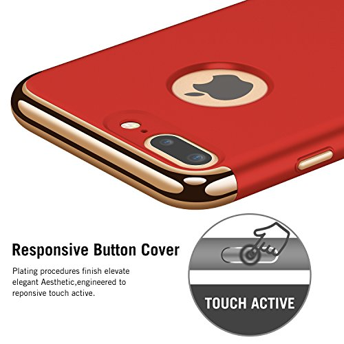 Large Product Image of iPhone 7 Case RANVOO 3-in-1 Stylish Thin Hard Slim Fit Case with 3 Detachable Parts for Apple iPhone 7 Only, CHROME GOLD and MATTE RED, [CLIP-ON]