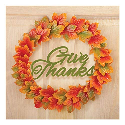 "15"" Dia. Give Thanks Thanksgiving Autumn Leaves Metal Door Wreath"
