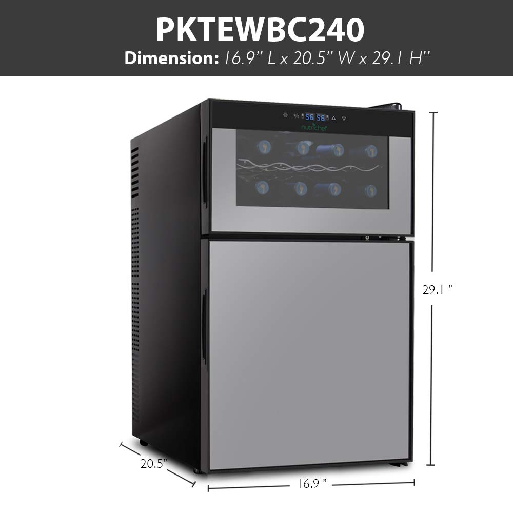 NutriChef PKTEWBC240 Wine Cooler and Mini Fridge Digital Touch Screen Two Door 8 Bottle Chiller Cellar Top-16 Can Beverage Refrigerator