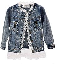 Hellomamma Girls Lace Denim Jean Jacket Kids Toddler Button Cowboy Coat Top Outwear Overcoat