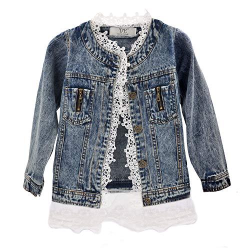 Girls Lace Denim Jean Jacket Kids Toddler Button Cowboy Coat Top Outwear Overcoat Blue
