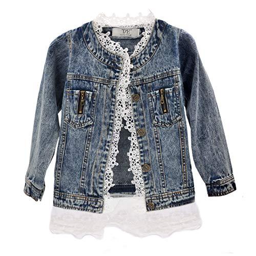 Girls Lace Denim Jean Jacket Kids Toddler Button Cowboy Coat Top Outwear Overcoat -