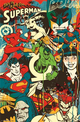 Dc Comics Throwback Collage Superhero Vintage Decorative Art Poster Print