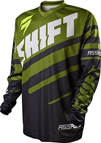 2015 Shift Youth Assault Race Jersey-Black/Green-YM (Race Jersey Youth)