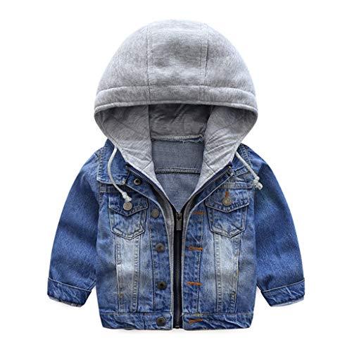 Jongensspijkerjas kinderjeans jas jas jas capuchon lange mouwen blauw denim tops kleding ritssluiting lente herfst…