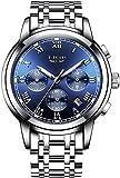 Relojes para hombres Casual Dial azul pulsera de acero inoxidable reloj cronógrafo en la ventana de fecha