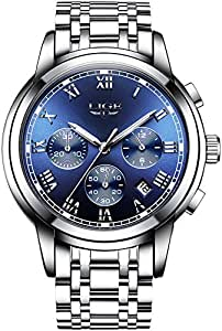 Men's Watches Casual Blue Dial Stainless Steel Bracelet Wrist Watch Chronograph in Date Window