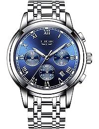 Mens Luxury Stainless Steel Bracelet Watches Chronograph Luminous Wrist Watch Bule Dial