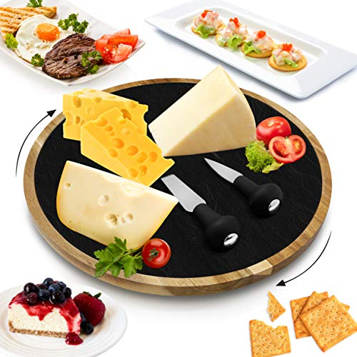 Rotating Lazy Susan Cheese Board - 12 Inch Diameter Acacia Wood Platter Turntable Serving Set w/ Slate Stone Plate, Stainless Steel Cutting Knives, For Picnic / Wine, Gifts - NutriChef PKCZBD40