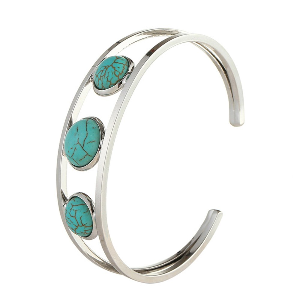 Blue Dwcly Double Layer Simple Open Cuff Bangle Fashion Three Black or Blue Turquoise Jewelry