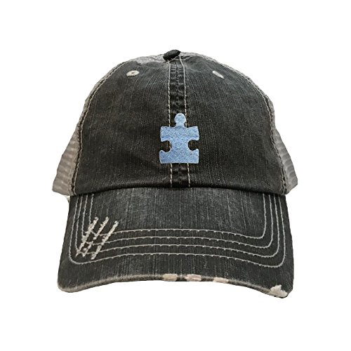 Go All Out One Size Black/Grey Adult Puzzle Piece Autism Embroidered Distressed Trucker Cap