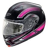 Fulmer, SN-M2B21D22, Adult Full Face Modular Snowmobile Helmet w/Dual Pane Shield - Pink Drift, XS