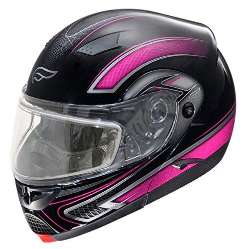 Snowmobile Helmet Shield - Fulmer, SN-M2B22D22, Adult Full Face Modular Snowmobile Helmet w/ Dual Pane Shield - Pink Drift, S