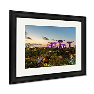 Ashley Framed Prints Night View Of The Super Tree Grove At Gardens By The Bay In Singapore Spanning, Modern Room Accent Piece, Color, 34x40 (frame size), Black Frame, AG6084874