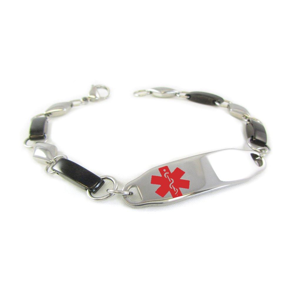 My Identity Doctor - Pre-Engraved & Customizable Women's Bariatric Surgery Medical Alert Bracelet, Fancy Steel Chain