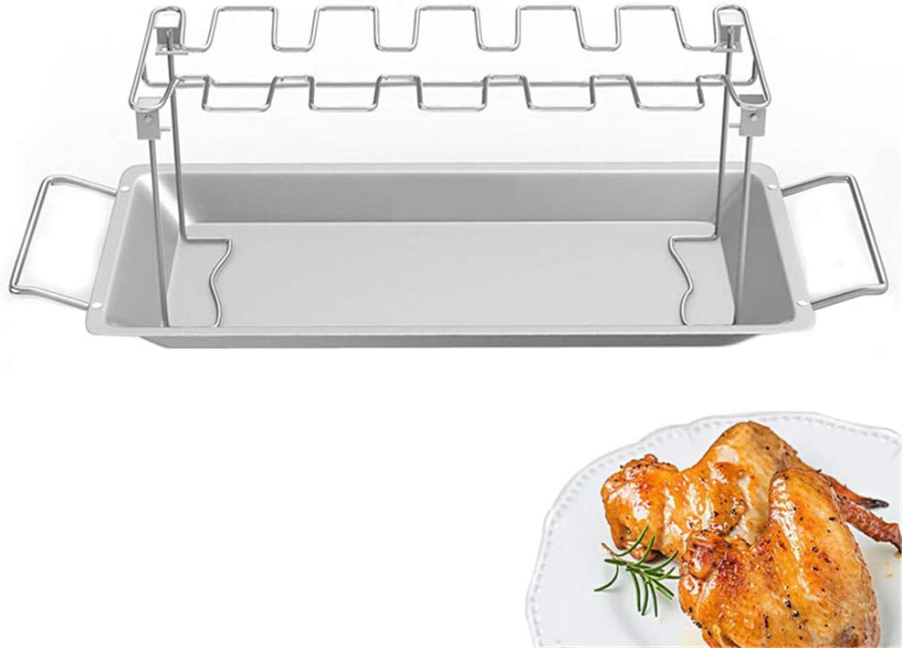 DIYARTS Chicken Leg Rack Stainless Steel Foldable Barbecue Grilling Accessory with Drip Pan for 14 Chicken Keulls