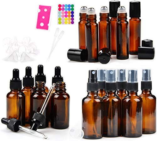 Bottle Package - 18 Amber Glass Essential Oil Bottles Pack - 6 amber glass eye dropper bottles (1 oz) - 6 amber glass sprayer bottles (2 oz) - 6 amber glass stainless roller bottles for essential oil (0.34 oz)