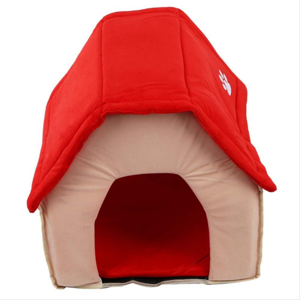 tienda en linea XIAOCONG Precioso Mascotadormitoriolovely Dog House Bed Nido De De De La Perrera Suave para Mascotas Perros Perros Rojo + Beige Hogar En El Interior Mascotas Que Duermen  últimos estilos