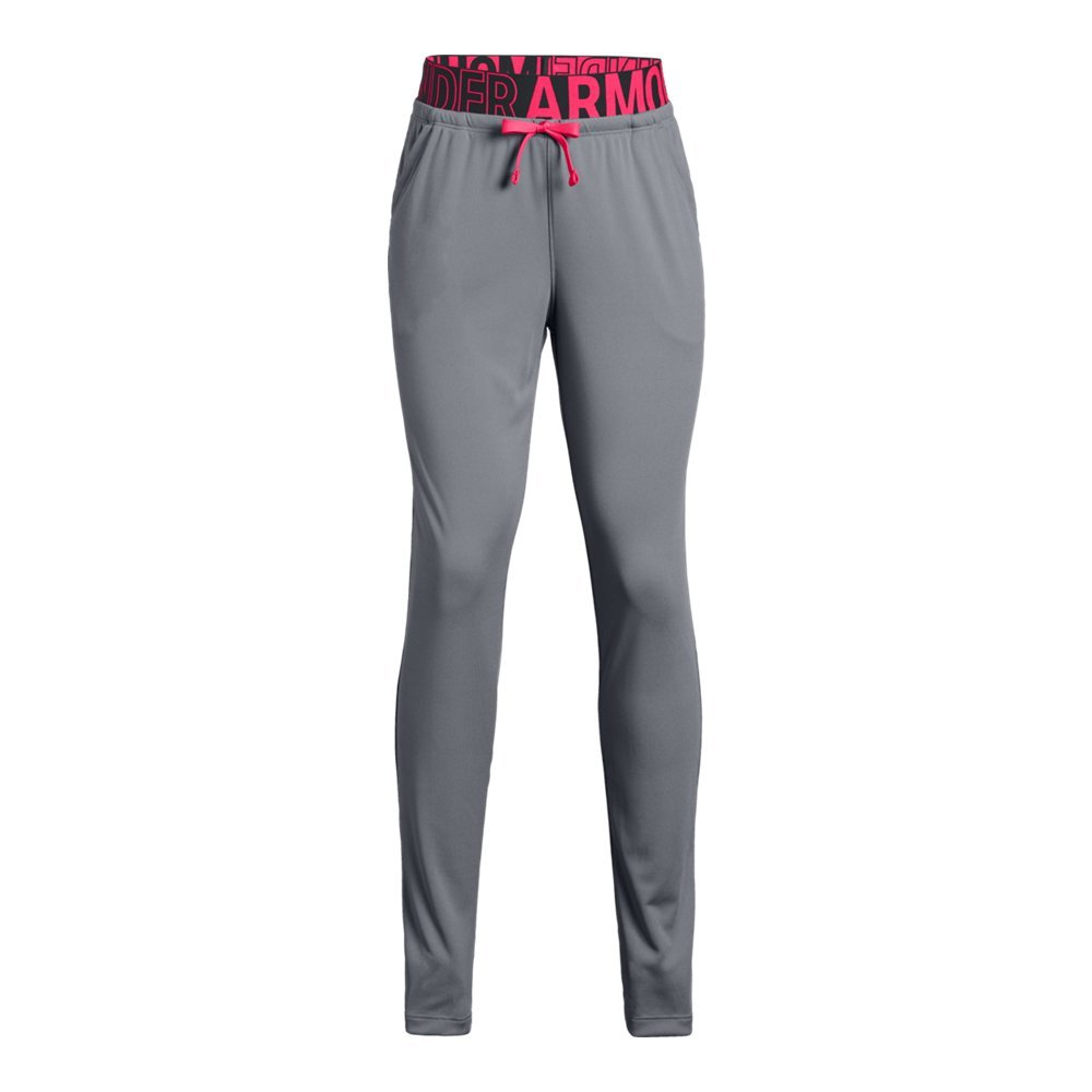 Under Armour Girls Tech Pants, Steel (035)/Black, Youth Medium by Under Armour