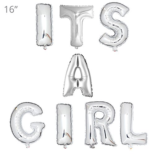 16'' Silver Balloons Banner Set Aluminum Foil Letter Balloons for Wedding Bridal Shower Bachelorette Party, Baby Shower Romantic Proposal Party Decoration Supplies (It's A Girl)