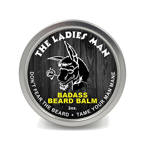 (Badass Beard Care Beard Balm - The Ladies Man Scent, 2 oz - All Natural Ingredients, Soften Hair, Hydrate Skin to Get Rid of Itch and Dandruff, Promote Healthy Growth)