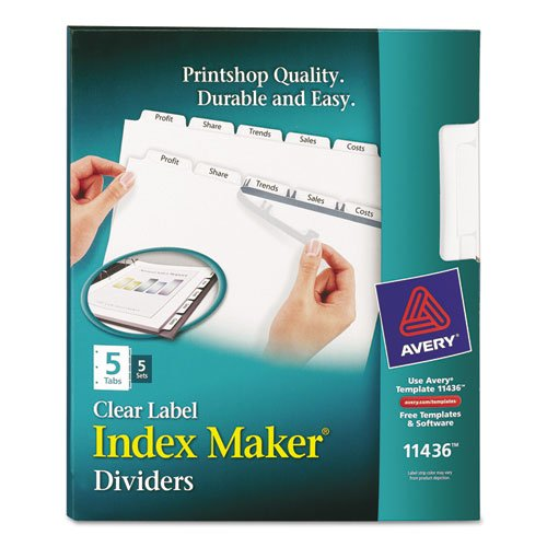 Avery® Index Maker Clear Label Punched Dividers, Five-Tab,