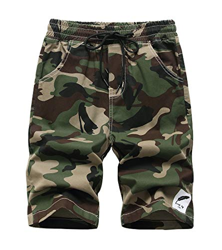 TLAENSON Kids Camo Cargo Shorts Boys Pull On Military Summer Camouflage Bermuda Shorts - Army - 6-7 Years/Label 130 ()