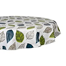 """Waterproof Spill Proof Vinyl Printed Round Tablecloth, 70"""", Perfect for All Season, Indoor, Outdoor Picnics & Potlucks Party Party or Everyday Use-Leaves"""