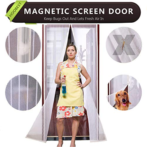 White Magnetic Screen Door,Heavy Duty Mesh Screen & Full Frame Velcro-Keep Bugs Out,Let Fresh Air In.Screen Door Mesh Is Bulit Tough,Close Automaticlly.(Screen Size 39inchx83inch Fits 36inch Doors) by Hoobest