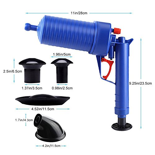 Drain blaster air Powered plunger gun, High Pressure Powerful Manual sink Plunger Opener cleaner pump for Bath Toilets, Bathroom, Shower, kitchen Clogged Pipe Bathtub (blue) by Storystore (Image #3)