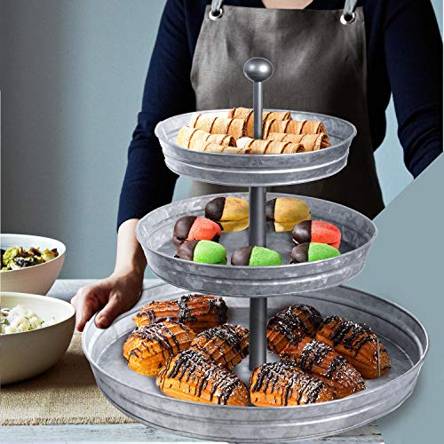 DELBRIO - 3 Tier Serving Tray (Jumbo 17'' Base) Rustic, Decorative Galvanized Metal | Home Farmhouse Decor & Display Stand | Coffee, Fruit & Veggie, Party Bar Serving Tray, Cupcake Stand | FOOD SAFE by DELBRIO (Image #5)