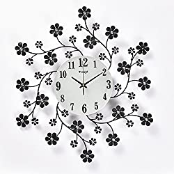 Decorative clock bedroom living room modern and simple European-style clocks and creative fashion silent quartz wall clock 55cm,Black