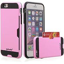 iPhone 6/6s plus case, Splendid tough armor dual layer ultra slim stowaway design shockproof ballistic Credit/ID card slot [Pink/Black] hybrid protective case. (Credit Pink i6/6s plus)