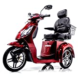 EWHEELS EW-36 Elite Recreational Electric Mobility Scooter for Adults with Electromagnetic Brakes, RED, Challenger Mobility Weather Cover Included