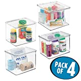 mDesign Stackable Storage Bins with Hinged Lids: Organizer for Vitamins, Supplements, Serums, Essential Oils, Medical Supplies, First Aid Supplies – BPA Free, Food Safe - 3'' High, Pack of 4, Clear