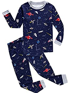 Boy Pajamas 100% Cotton Space Long Sleeve Toddler Pjs Sleepwear Kids Clothes
