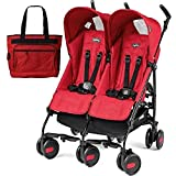 Peg Perego - Stroller Pliko Mini Stroller Twin Mod Red With Diaper Bag