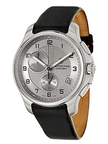 - Victorinox Swiss Army Silver Dial SS Leather Chrono Quartz Men's Watch 241553