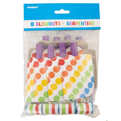 Rainbow Party Blowers, 8ct