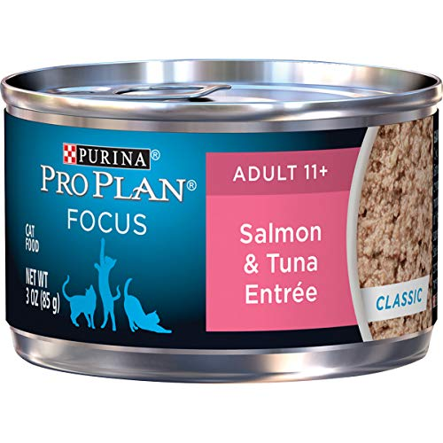 Purina Pro Plan Senior Pate Wet Cat Food, FOCUS Salmon & Tuna Entree – (24) 3 oz. Pull-Top Cans
