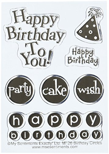 MSE Birthday Circles My Sentiments Stamps Sheet, 3 by 4