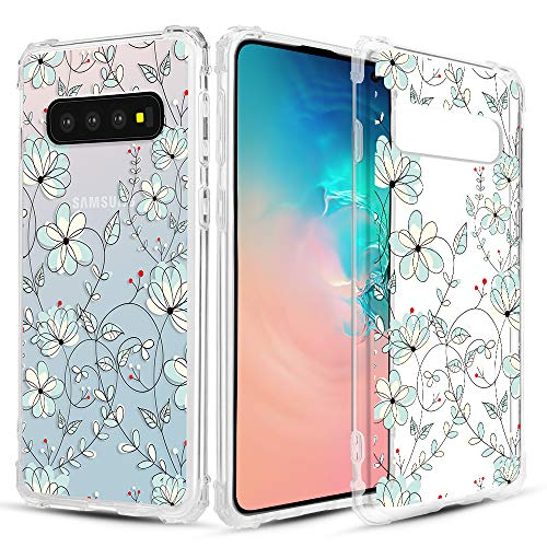Caka Clear Case for Galaxy S10 Clear Floral Case Flower Pattern Vine Series Slim Girly Anti Scratch Excellent Grip Premium Clarity TPU Crystal Case for Samsung Galaxy S10 (Light Blue)