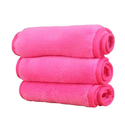 Mydio 3 Pack Hotpink Makeup Remover Cloth,Reusable Facial Cleansing (Makeup Remover Towels)