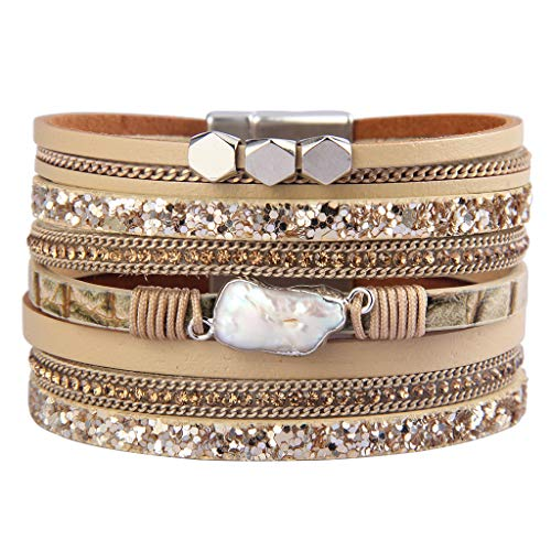 Jenia Baroque Pearl Leather Cuff Bracelet Multiple Strand Wrap Bracelets Magnetic Braided Bangle Bohemian Gift for Women, Teens Girls, Wife, Sister for $<!--$14.79-->