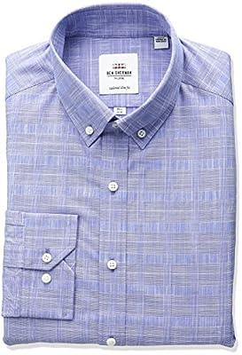 Ben Sherman Men's Slub Glen Plaid Buttondown Collar Dress Shirt