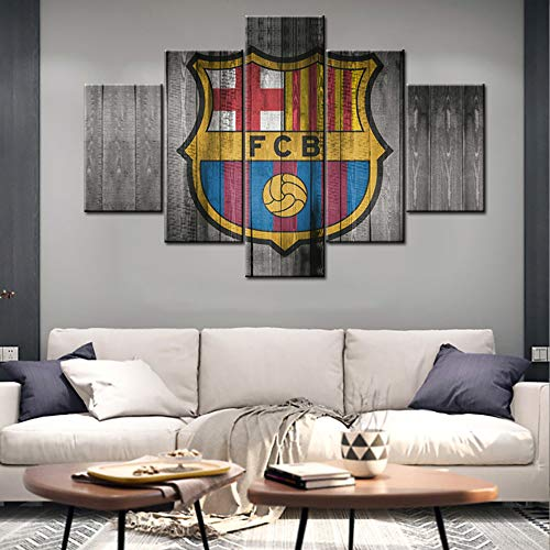 Large 5 Piece Black White and Red Canvas Wall Art Barcelona Football Club Poster Artwork Prints Vintage Coat of Arms Modern Home Decor Stretched and Framed Ready to Hang for Living Room - 60